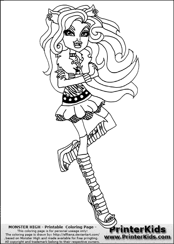 Monster High Coloring Pages Clawdeen images