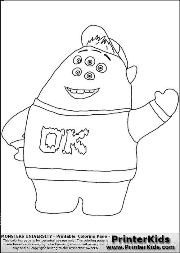Monsters University Printable Coloring Pages